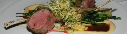 Lamb 46 roasted rack/salsa verde crust/whipped chickpeas/artichoke heart/rapini/preserved lemon/pine nuts/natural jus