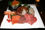 3. House Special Sashimi Plate Seasonal Price - Large assortment, quality, variety. Serving for 2-3 ($53)  Sashimi Tuna, Toro (Blue Fin Fatty Tuna), Salmon, Scallop (Hotate), Uni (Sea Urchin), Maguro, Ebi (Shrimp) Hamachi, Yellow Tail, King Crab