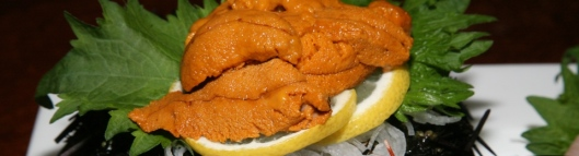Uni (Sea Urchin) 3. House Special Sashimi Plate Seasonal Price - Large assortment, quality, variety. Serving for 2-3 ($53)
