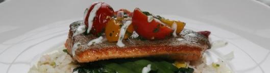 Pan-seared Ontario Trout Jasmine rice pilaf creamed corn spinach grape tomato salsa cilantro lime yogurt