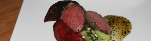 Forestberry seasoned white strip lamb, minted cucumber, beetroots