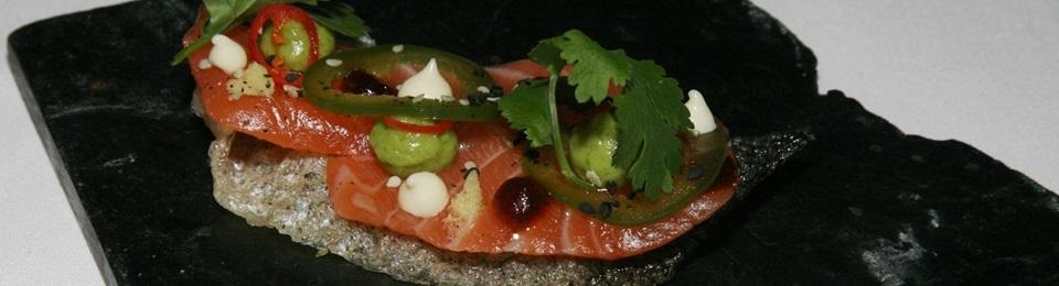 Irish organic salmon sashimi avocado and nori
