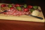 Salami Board, hung dried Toulouse Sausage, venison salami, soprassetta, artichoke mustard, cerignola olive