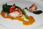 Northern Walleye Taste, butter lime lobster, smoked butternut squash, black truffle, kai lan