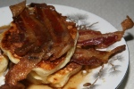 Bacon on Apple pancakes with maple syrup glazed apples walnut crumble cinnamon cream bacon $15