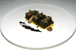 Bison - roasted striploin medallions, butternut squash, pickled cabbage, blueberry gastrique, pecans