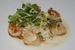 Scallops - pan-seared scallops, pearl barley risotto, almonds, fine seeding salad
