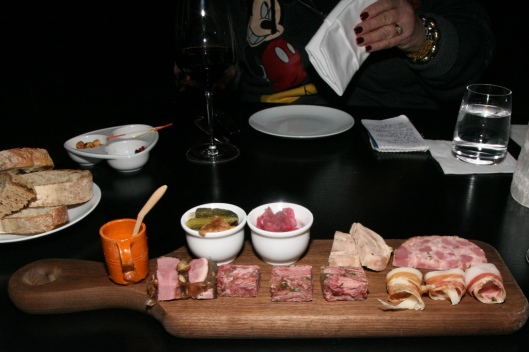 Charcuterie prepared by Chef Charcutier Nicolas Marragou ($30 four 4 portions and a glass of wine)
