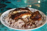 Jerk chicken, rice and peas $5.99