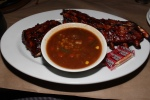 Full rack of tender charbroiled pork back ribs, basted with Joe's signature BBQ sauce and a side of soup