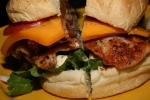 The Big Pig - 4 slices of bacon, 2 peameal, cheddar, mayo, lettuce, tomato ($7.50)