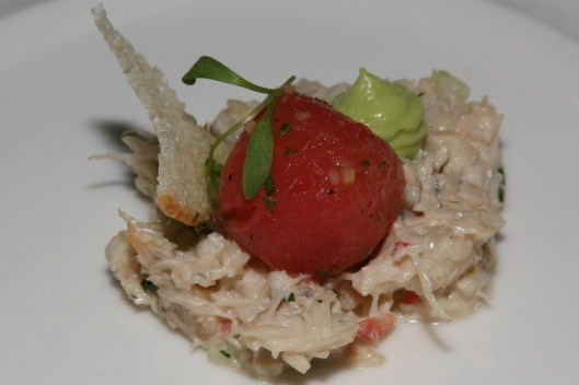 Crab Salad with avocado mousse and tomato