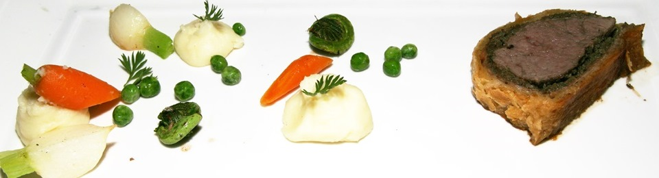 Beef Wellington with season vegetables and pommes purée