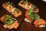 Snack - Smoked Salmon Cracker Anchovies Butter & Fried Capers: Salmon Sashimi Cracker Avocado & Nori
