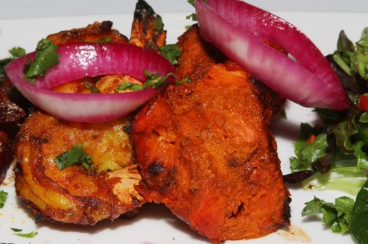 Mixed Grill for 2 - sausage, tandoori prawns, chicken tikka $15.95