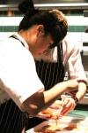 Tendon: soy braised beef tendon, chili mayonnaise, pickled watermelon rind, coriander cress barley crisp
