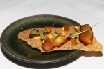 Tendon: soy braised beef tendon, chili mayonnaise, pickled watermelon rind, coriander cress on barley crisp (1529)