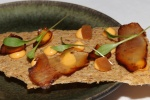 Tendon: soy braised beef tendon, chili mayonnaise, pickled watermelon rind, coriander cress on barley crisp