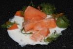 Trout: slightly warmed sea trout from Shetland Island, elderflower yogurt, cucumber, elderberry capers, pickled carrots, cucumber, wild fennel, sorrel