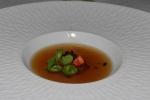 Tomato: slow roasted tomatoes, basil cress, consommé made with tomato, basil and Iberico ham leg