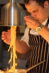 Truffle: Tagliatelle made with smoked egg yolks and perigord truffles, Champagne truffle sauce and grated summer truffles