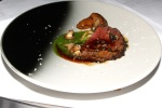 Beef: Sirloin of Dexter beef, St. George mushrooms, wild garlic sauce, pickled wild garlic stems, grated fresh horseradish, garlic caper beef sauce