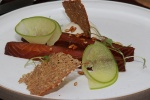 Treacle cured smoked salmon with pickled apple, whiskey jelly and watercress £10.50