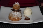 LE CHOU - Chou pastry filled with praline and yoghurt, caramel sauce and brandy ice cream
