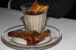 Cocoa nib panna cotta with Pedro Ximénez, honeycomb and stem ginger biscotti
