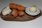 Lemon curd beignet with lemon sorbet and chantilly cream