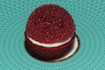 Amuse Bouche - Aerated Beetroot Macaron with Horseradish Cream