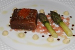 Salmon Poached In Liquorice Gel - Artichokes, Vanilla Mayonnaise Golden Trout Roe