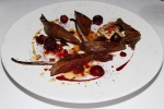 Roast Breast and Confit Leg of Pigeon with Cherries, Red Vegetables and Leaves