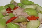 Silk gourd with sliced pork - a mild dish, soft and comforting £12.90