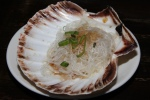 Steamed Scallops with garlic and bean thread noodles (two per order) £5.90 each