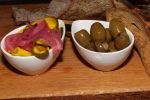 House made pickles; Marinated warm olives rosemary olive oil, chilies & garlic