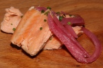 Vodka cured smoked Atlantic salmon with pickled red onions