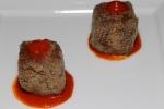 Canapé - fava bean, pique sauce, ketchup