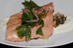 B.C. Pink Salmon - coco bean salad, sheep's yogurt, za'atar sumac, jalapeno & radish salad