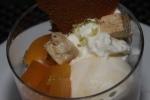 Peach Sundae - pistachio nougat, lime zest, brown sugar tulle crème fraȋche, ice cream