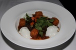 Pulled Braised Goat - black beans, masa fritters, pico de gallo, goat cheese foam