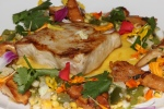 Grilled Nova Scotia Swordfish - sweet corn, jicama & tomatillo salsa, chanterelle mushrooms