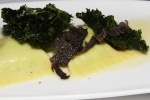Sweet English Pea Ravioli - kale chips, shaved black truffles