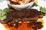 Pepper-Crusted NY Striploin - rosemary-parmigiano frites
