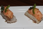 Crispy Rice with spicy Salmon or spicy Tuna - pan seared sushi rice