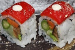Vegetable Maki - sweet potato, avocado, shiitake, yamagobo, asparagus, red pepper on top