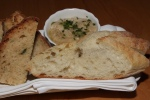 House made dill soda bread and ciabatta from Boulart in Montreal, white bean spread