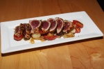 Seared yellow fin tuna - fingerling coins / olives / gazpacho vinaigrette $14.00