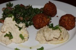 Combination Plate - humus, babaqanüj. tobülé and falafel (vegan)