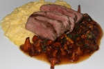 Cumbrae Farms Flank Steak & Eggs, Miataki and Baby Chanterelle Mushrooms
